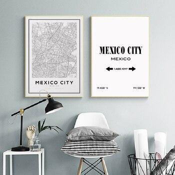 Póster de pintura artística con mapa de Ciudad de México, decoración de pared de Latitud blanca y negra de viaje, imágenes artísticas para el hogar