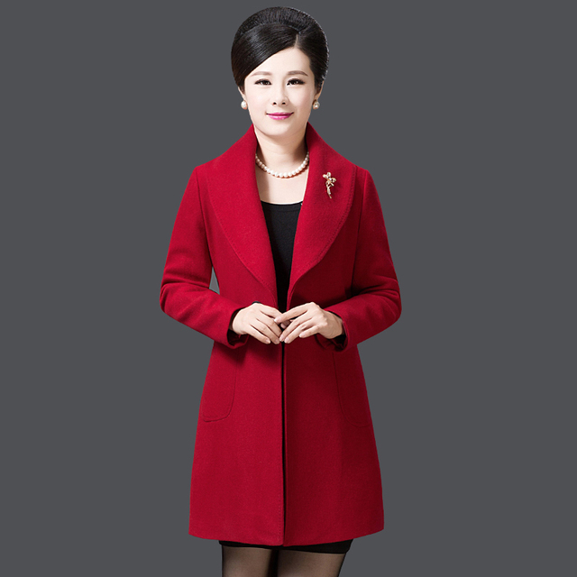 333524b3c Middle aged women s autumn and winter wool woolen coat 40 50 year ...