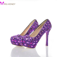 Purple Crystal Bridal Shoes High Heel Platforms Handmade Beautiful Rhinestone Wedding Party Shoes Luxury Graudation Prom