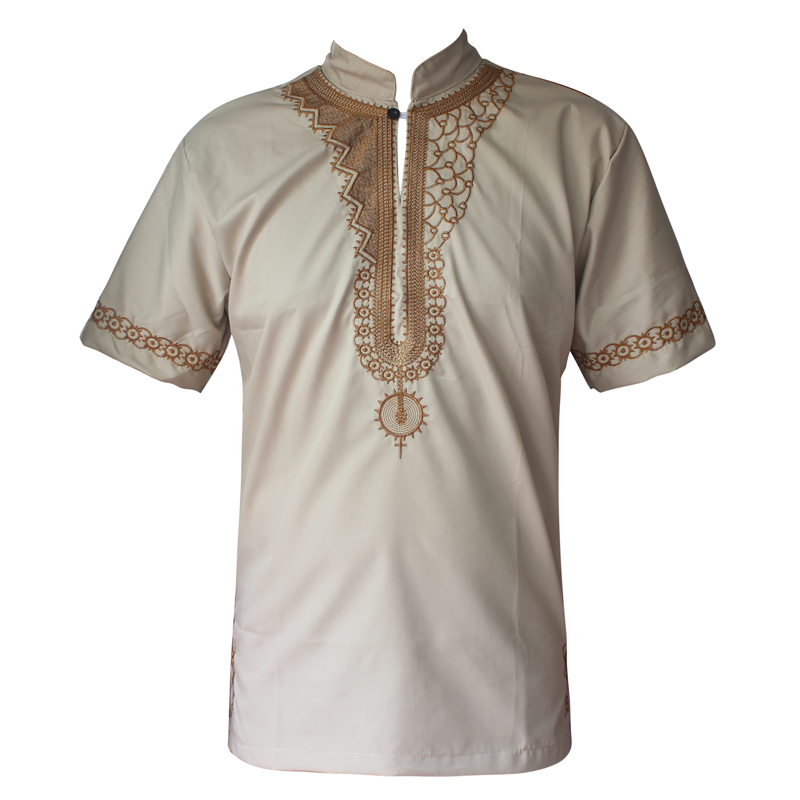Africa Fashion Embroidery Men`s  Dashiki Tops Short Sleeved Ethnic Kwanzaa Shirts Clothes