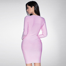 INDRESSME 2018 New Bandage Dress Long Sleeve Knee Length Ladies Bodycon Party Dresses