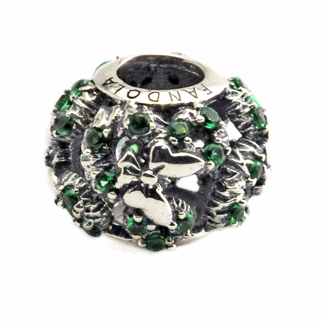 Fit for Pandora bracelets 100% 925 Sterling silver beads Mouse Holiday Wreath Charm diy fashion women jewelry CK314