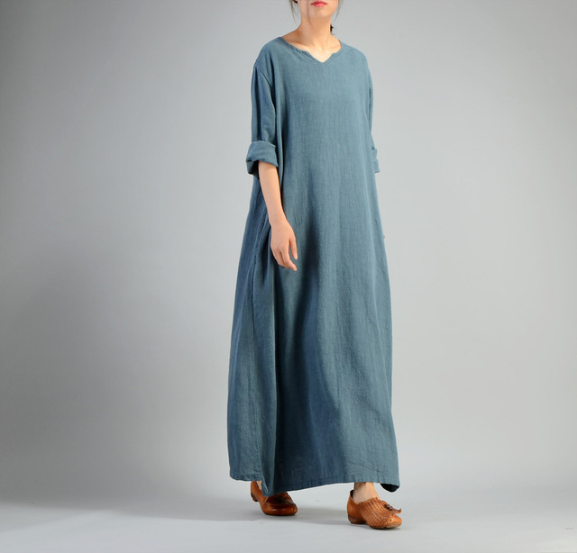 4645565f9b Women Loose Cotton Linen retro Dress Ladies Autumn Long Sleeve V neck  Simple Robe Dress Female Plus Size Fall Spring Dress