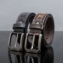 2017New arrival Men belt Genuine Cowskin Special Embossing process Pin Buckle Fashion Leisure Strap