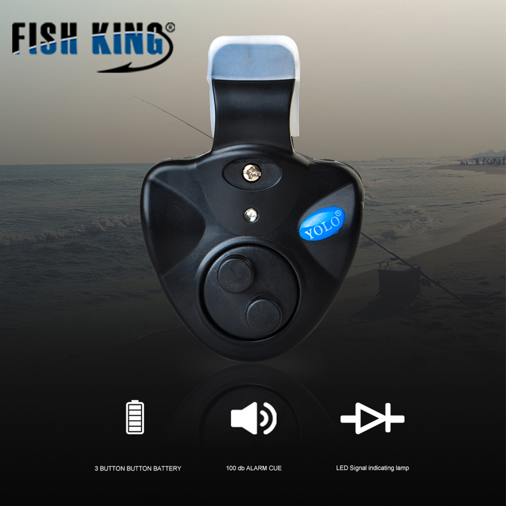FISH KING Fishing Bite Alarms 40g Electronic Wireless ABS Fish Bite Alarm New LED Light For Fishing Tackle