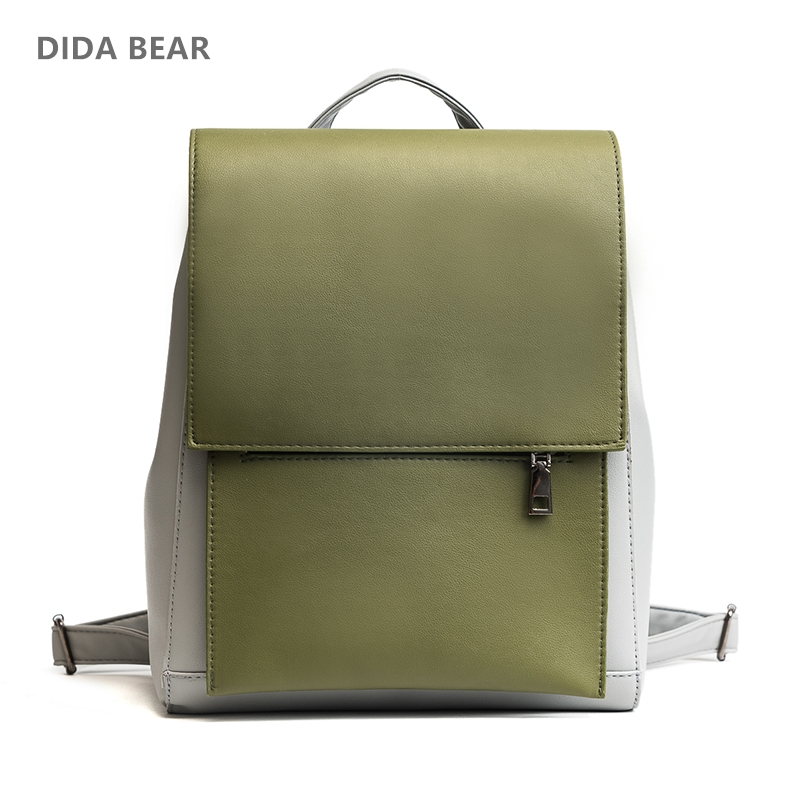 цена на DIDA BEAR Women Leather Backpacks Ladies School bags for Teenage Girls Fashion Rucksack Female Travel Backpack Candy Color Brown