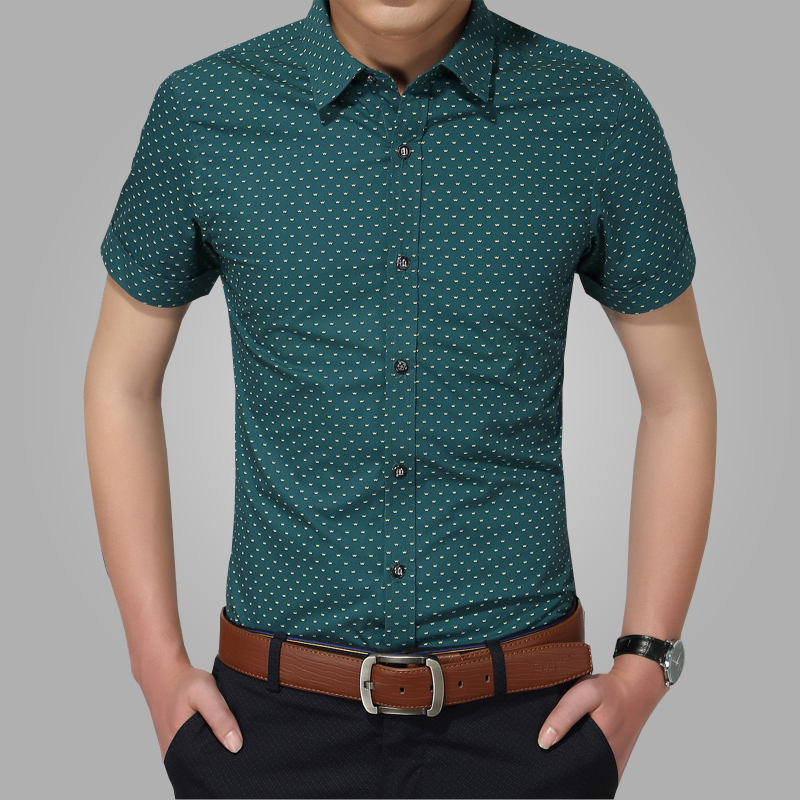 2018 nieuwe heren shirts merk turn-down kraag slim fit heren chemise homme casual zomer strand dot shirt korte mouw bedrukt 5XL