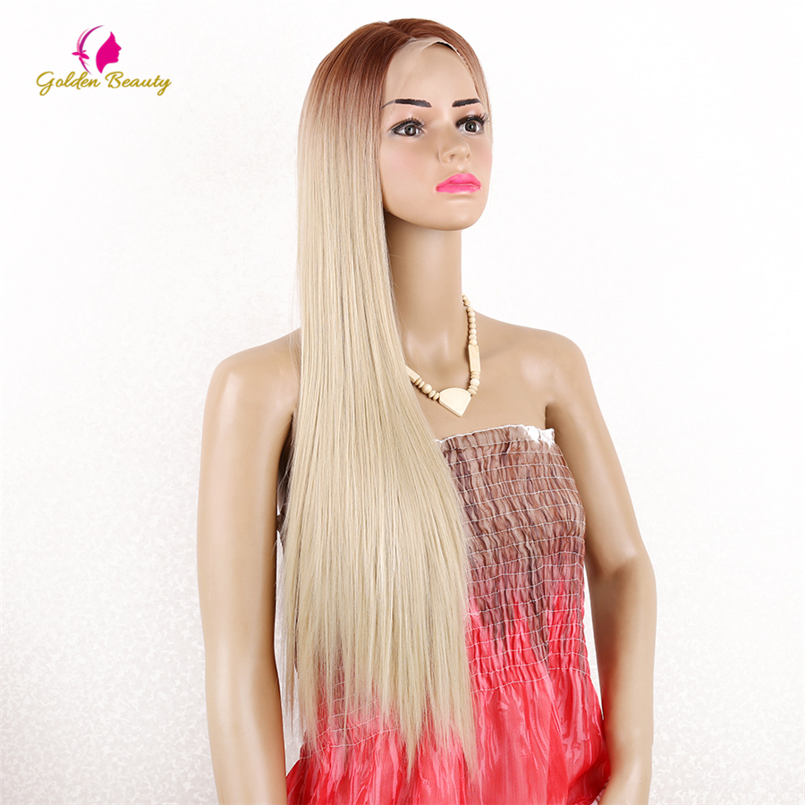 Golden Beauty 28inch Synthetic Lace Front Wig Straight Long Blonde Wig Cosplay