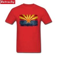 עיצובים חדשים זכר אריזונה מדינת דגל מותאם אישית עיצוב חולצה לבן שרוול קצר חולצות 3XL