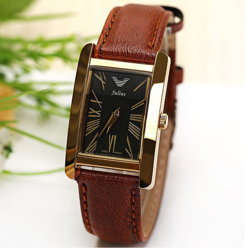 Men watch Luxury Brand Julius Original Quartz Watch Roman Numbers Leather Strap Rectangle Dial Watches women dress watch man династия династия 03 068