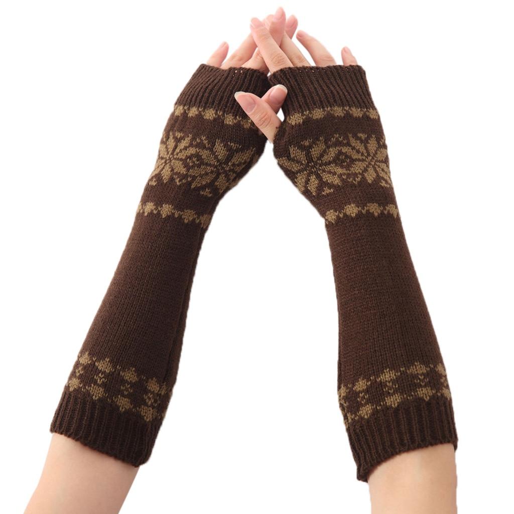 Women fingerless gloves lady winter wrist arm warmer solid knitted long fingerless gloves mitten 2018 christmas gants femme long