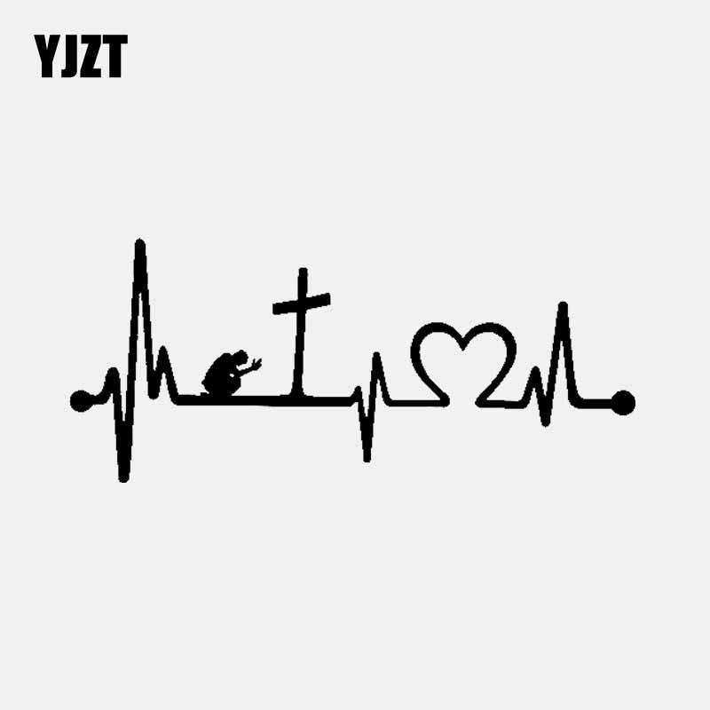 YJZT 15.2CM*6.6CM Praying At Cross Heartbeat Vinyl Decal Car Sticker Jesus Faith Bible Christian Black/Silver C3-1380