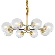 Real Full Copper Chandelier for Bedroom Dining Living Room Post Modern Bronze Glass Indoor Lighting