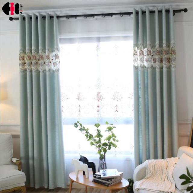 Luxury Velve Cotton Linen French Door Embroidery Silk Fabric Window Curtain Mint Blue Color Blackout Blind