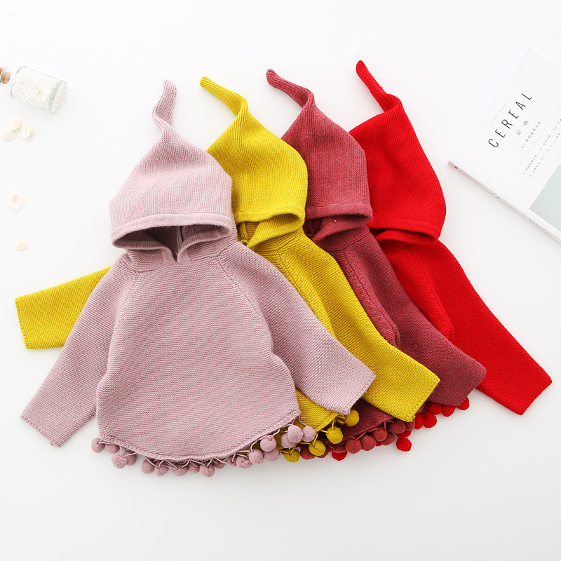 Autumn Winter Childrens Sweaters Hooded Toddler Girls Knitted Sweater Casual Knitwear Baby Girls Clothes RT133Autumn Winter Childrens Sweaters Hooded Toddler Girls Knitted Sweater Casual Knitwear Baby Girls Clothes RT133