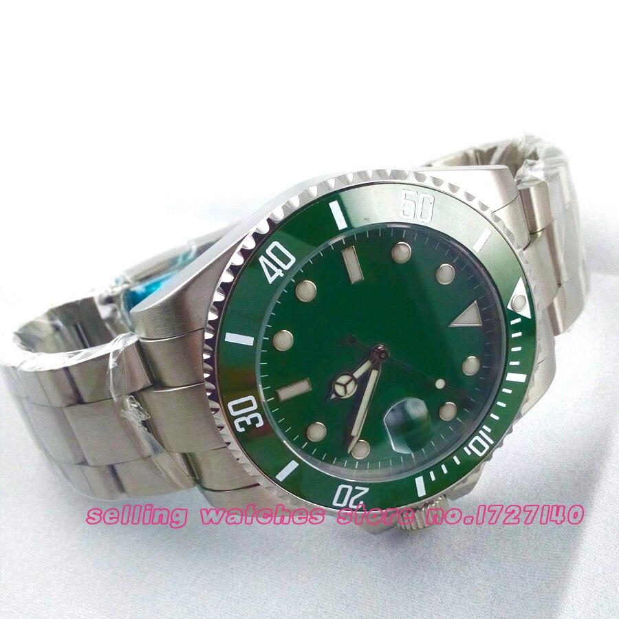 лучшая цена 43mm Sterile Ceramic Bezel sapphire glass green dial automatic parnis mens watch