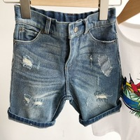 kids jeans summer baby girl jeans boys pants Solid color casual shorts Fashion hole denim shorts boys pants 2 6T