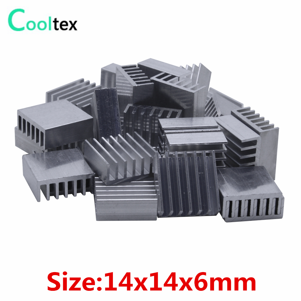 50pcs  Extruded Aluminum Heatsink 14x14x6mm Heat Sink For Chip VGA RAM LED IC Electronic  Radiator  COOLER Cooling