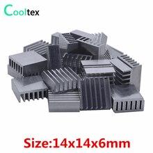 50 шт. прессованный алюминий радиатора 14x14x6 мм радиатор для чип VGA оперативная светодио дный память LED IC Электронный кулер охлаждения