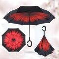Colorido Plegable Doble Capa de Chuva Invertida Protección UV Lluvia Paraguas de Auto Soporte de Adentro Hacia Afuera C-gancho Manos A Prueba de Viento