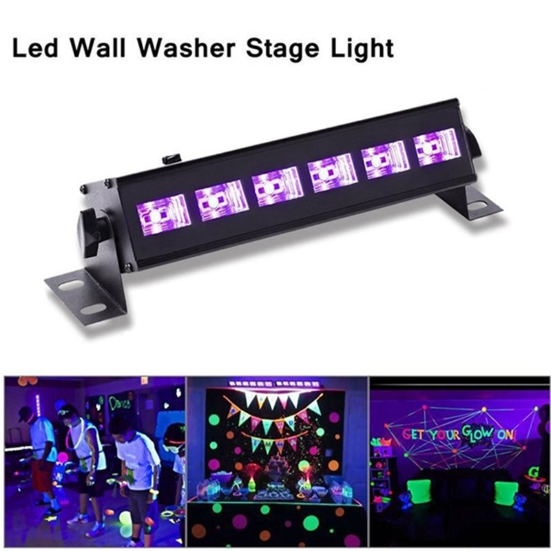 6 LED UV Stage Light Purple Lighting Effect Night Light Wall UV Lamp For DJ Disco KTV Bar Christmas Party Indoor Lighting
