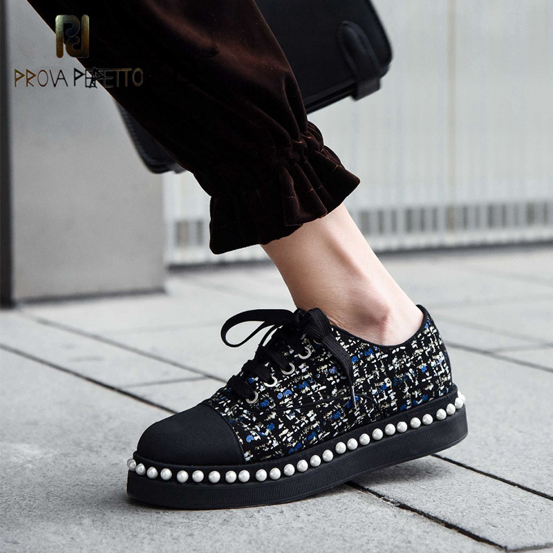 Prova Perfetto Luxury brand flat shoes women loafers string bead vintage British pearls decoration loafers women