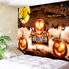 Psychedelic Halloween Tapestry Skull Pumpkin Wall Hanging Moon Decorative Rug 3D Print Cloth on Fabric Decor Blanket