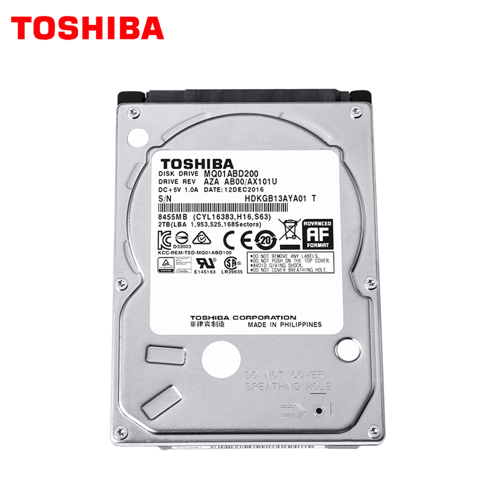 "TOSHIBA 2TB Internal Hard Drive Disk Laptop Notebook HDD HD 2000G 2.5"" 9.5mm Height Thickness SATA 3 128M 6.0Gb/s 5400 RPM"