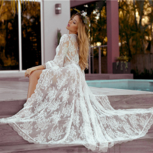 Kaftan Cover-Up Maxi Beach-Dress Crochet Long Women Swimwear Sarongs Robe-De-Plage Lace