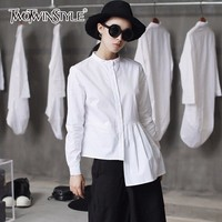 TWOTWINSTYLE White Women S Shirt Patchwork Irregular Ruched Plus Size Long Sleeve Blouses Tops Autumn Female