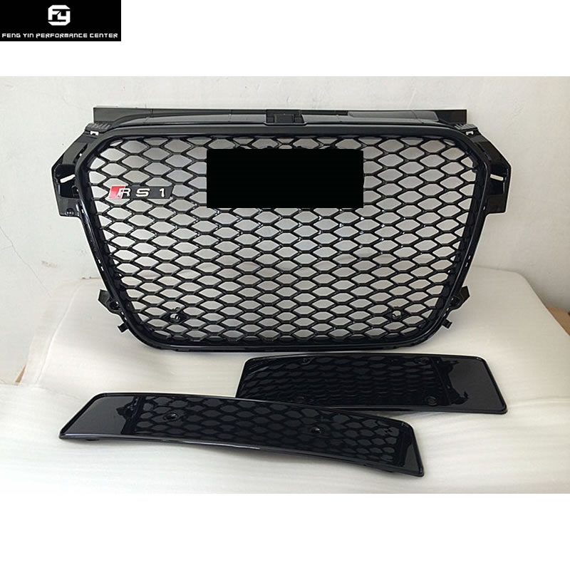 Racing Grills A1 RS1 Style All Black ABS Auto Car HoneyComb Grill For Audi A1 RS1 front bumper 2012 2014