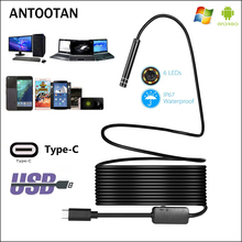 USB TYPE-C Endoscope Inspection Camera 7mm 2m 3m 5m Flexible Snake Cable Type C Android Video