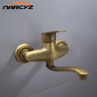 New Style Shower Faucets Antique Brass Bathroom Faucet Shower Head Wall Mounted only Bath Tub Mixer Tap XT397