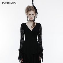 PUNK RAVE Women Fashion Punk Rock T-shirt Gothic Cotton Lace V-Neck Tops Hollow Out Long Sleeve