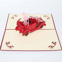 Happy Wedding Gift Paper Carving Greeting Card 3D Invitation Red Vintage Car