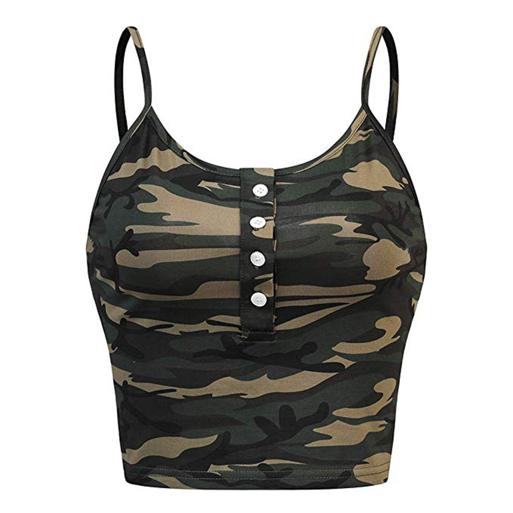 Vest Camouflage Tank-Tops Button Crop O-Neck Print Sexy Women Casual Sleeveless Top-35