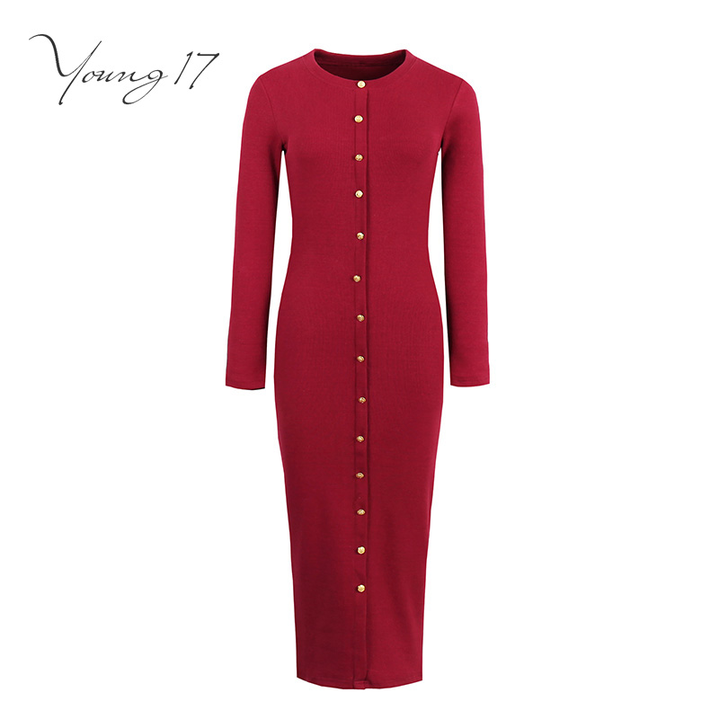 Young17 bodycon sweater dress red black gray long sleeve knitted button o neck women sexy elegant sheath new girl bodycon dress jones new york new gray sleeveless women s size 1x plus sheath dress $109