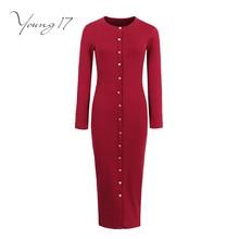 Young17 Bodycon Sweater Dress красный черный серый Длинные рукава трикотажные Кнопка Круглая горловина женские пикантные элегантные оболочка Новинки для девочек облегающее платье
