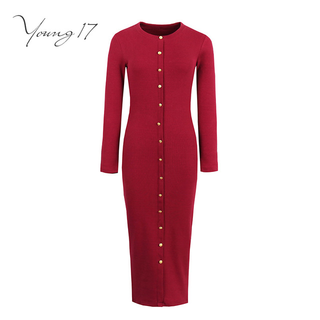 5d541ec72d Young17 bodycon sweater dress red black gray long sleeve knitted button o  neck women sexy elegant sheath new girl bodycon dress