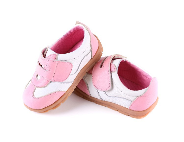 SandQ baby Boys sneakers soccers shoes girls sneakers Children leather shoes pink red black navy genuine leather flexible sole 37