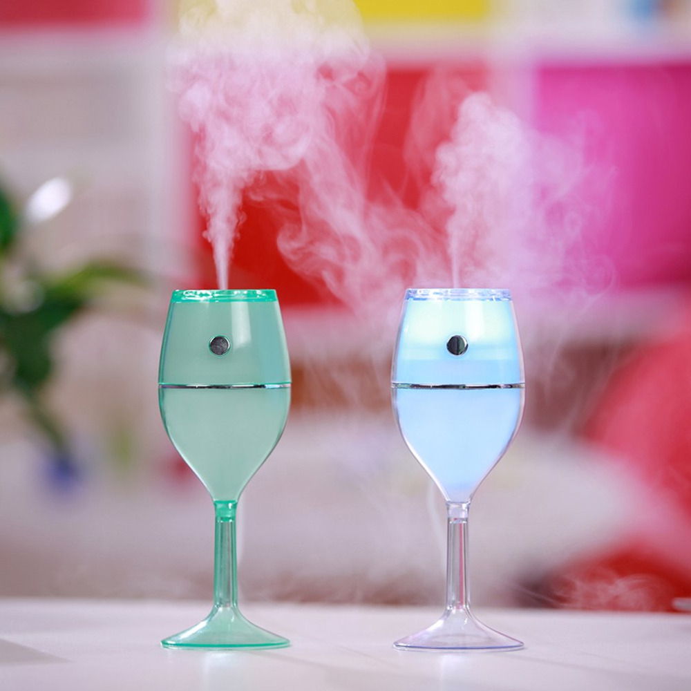 LED Wine Cup USB Colorful Desk Night Lamp 80ml Air Humidifier Red Wine Cups No Noise Mini Portable Air Cleaner for Home Car Use ...