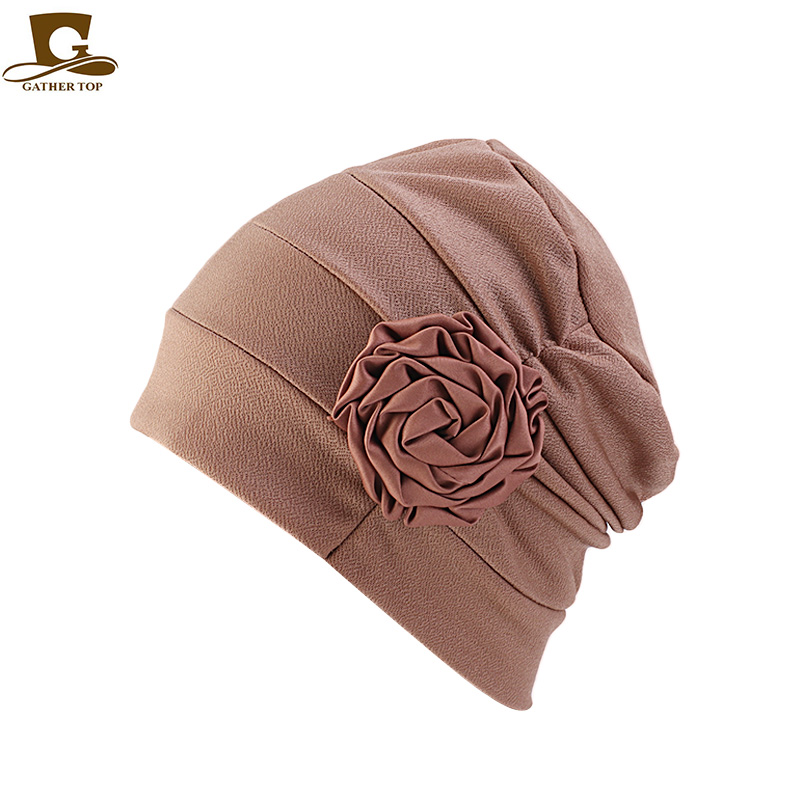 New Fashion Flower Shape Turban Beanie Women Chemo Cap Sleep Bonnet