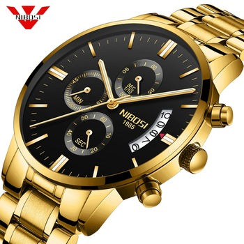 NIBOSI Luxury Waterproof Full Steel Quartz Gold Watch