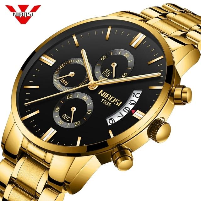 NIBOSI reloj deportivo para hombre, cronógrafo, resistente al agua, de cuarzo, dorado, Masculino