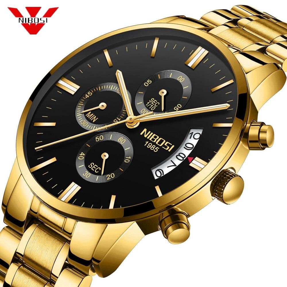 NIBOSI мужские часы с хронографом спортивные мужские часы Топ бренд класса люкс водонепроницаемые полностью Стальные кварцевые золотые часы мужские Relogio Masculino|Кварцевые часы| | - AliExpress