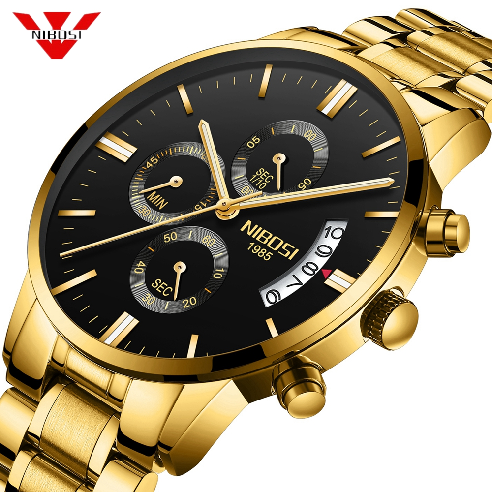 Nibosi hombres reloj cronógrafo deporte relojes de hombre Top marca de lujo impermeable completo acero cuarzo oro reloj hombres Relogio Masculino