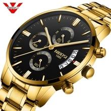 Nibosiメンズ腕時計クロノグラフスポーツメンズ腕時計トップブランドの高級防水フルスチールクォーツゴールド時計男性レロジオmasculino