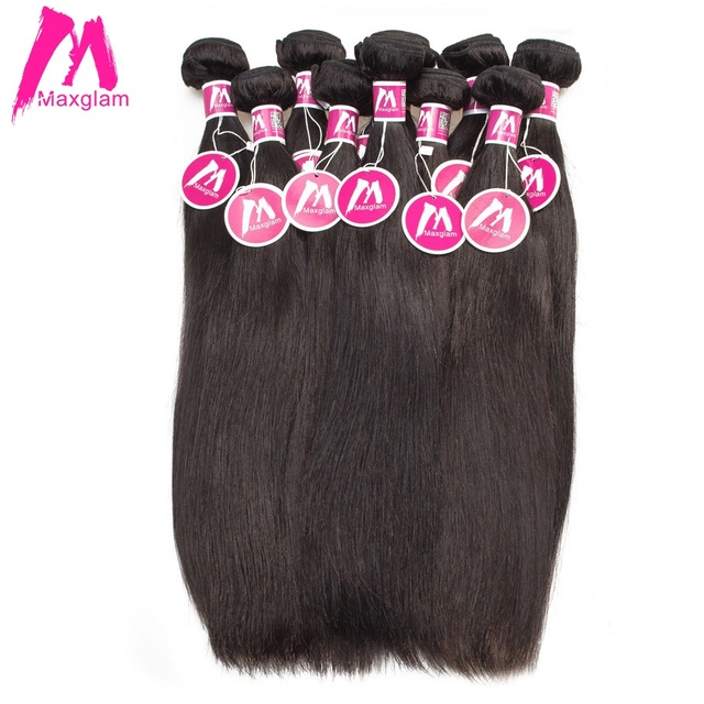 Maxglam Brazilian Virgin Hair Wholesale Straight Human Hair Weave