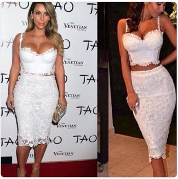 Sexy Kim Kardashian Two piece Knitted White Lace Dresses 1