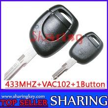 Бесплатная Доставка (1 шт.) 1 Кнопка vac102 Дистанционного Ключа Keyless Fob Для Renault Twingo Clio Мастер KANGO PCF7946 Чип 433 МГц